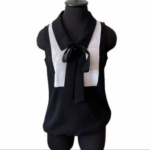 Tempted Black & White Blouse with Collar Bow Tie